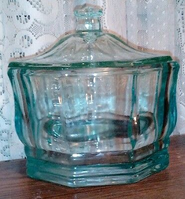 Indiana Glass Candy Dish and Cover Teal Glass Concord vintage