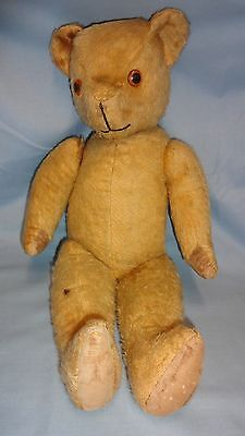 "Large 21"" Vintage Straw Filled Teddy Bear - Hump Back , Moving Limbs"