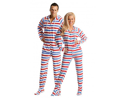 Red, White and Blue America Unisex Polar Fleece Adult Sized Footed Pajamas