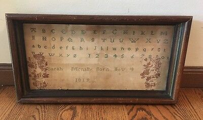 EARLY 19TH CENTURY ALPHABET, NUMBER MOTIF SAMPLER Sarah McNally Born Nov 4-1819