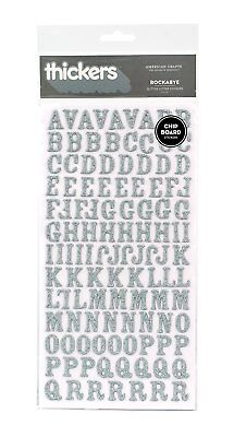 American Crafts Thickers Glitter Chipboard Letter Stickers, Rockabye Silver