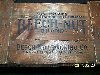 """Beech-Nut Brand Candy wooden crate -""""EVERYBODY LIKES CANDY"""" CANAJOHARIE , N.Y."""