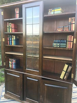 Antique Glazed Library Bookcase With Keys