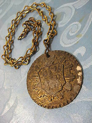 Vintage Large Metal Medallion & Chain Knight on Horseback Central Figure