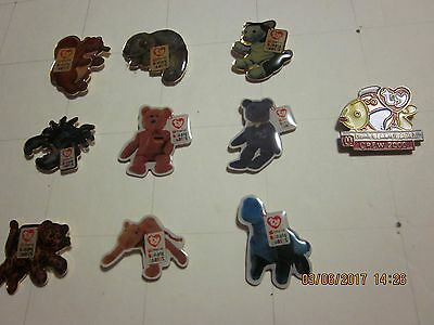 Vintage Lot of 10 McDonald's Employee Crew Ty Beanie Baby Lapel Pins #9