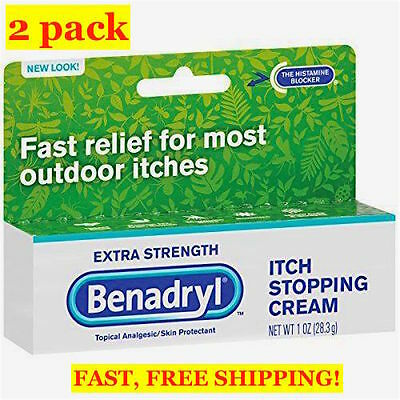 2 PACK BENADRYL ITCH STOPPING CREAM - EXTRA STRENGTH, 1oz/ 28.3g ITCHING RELIEF
