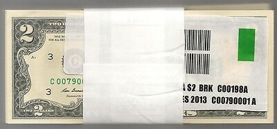 100 PACK 2013 $2 PHILADELPHIA C BANKNOTES CU UNC SEQUENTAL LOW SNs NEW FROM BEP