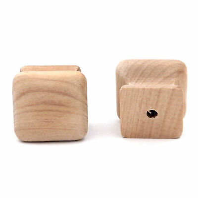 """Pair of P681-UW Natural Wood 1 1/4"""" Square Cabinet Knob Pulls Hickory Woodcraft"""