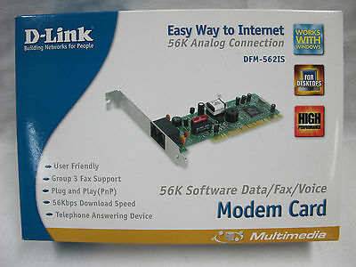 Dlink PCI 56K MODEM CARD - MODEL: DFM-562IS - Complete in Box /w Driver RETRO!!