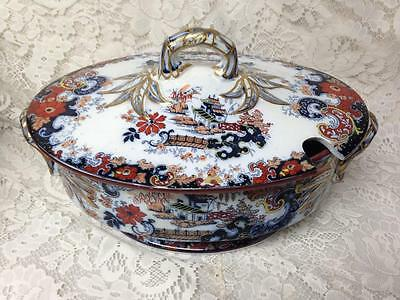 Antique, Ridgway, Large, Gaudy Flow Blue Willow, 9in x 13.5in x 8in Soup Tureen