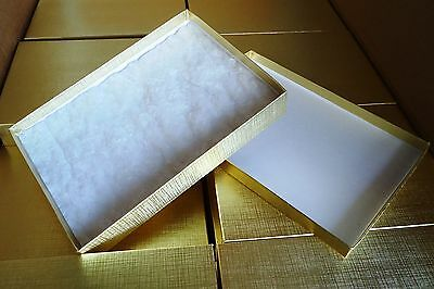 """GIFT Boxes Gold Foil Cotton Filled for Jewelry book FIVE 8"""" x 5 1/2"""" x 1 1/2"""""""
