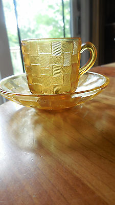 """EAPG - Columbia Glass Co. """"Basketweave"""" amber cup&saucer"""