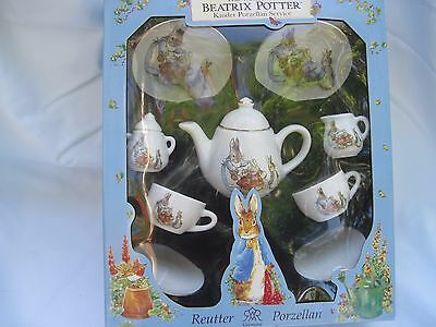 NIB  REUTTER PORCELLIAN Beatrix Potter PETER RABBIT 9-piece Children's Tea Set