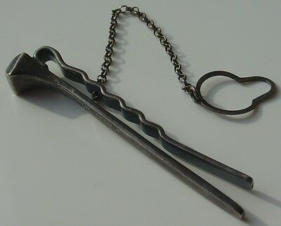 Vtg 925 Italy Sterling Silver Tie Clip Blacksmith Forged Square Rose Head Nail