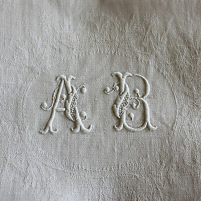 8 Antique French Linen Monogrammed Napkins A B