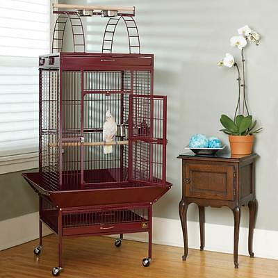 Medium Wrought Iron Pet Bird Cage Parrot Aviary Easy to Move Bird House Brown