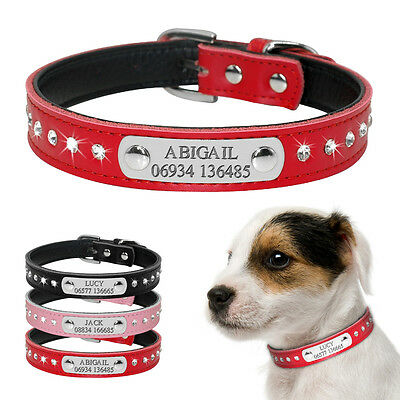 Rhinestone Personalized Dog Collar Soft Leather Custom Engraved ID Name Collar