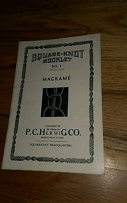 Vintage Square Knot Booklet #1 Macrame P.C. Herwig Company Craft CRAFTING Arts