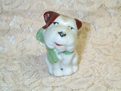 "Vintage Bull Terrier White Brown Porcelain Puppy Dog Figurine 2"" Tall Cute Face"