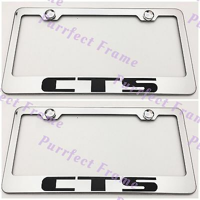 XT4 Cadillac Black Stainless Steel License Plate Frame W// Bolt Caps