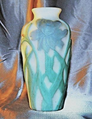~ Vintage PHOENIX CONSOLIDATED High RELIEF Velvety SATIN GLASS VASE, Marked ~