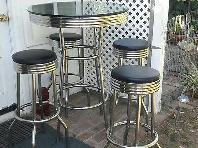 vintage 1930's glass top table and swivel stools