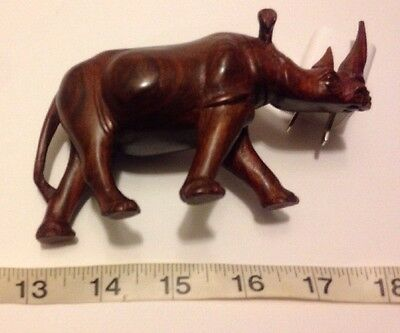 Small Solid Wood Hand Carved Rhino Rhinoceros Collectable Display Figure