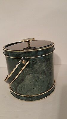 Vintage Ice Bucket. Multi Colored Green & Black W/Gold Trim. Good Condition.