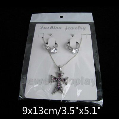 """20 Sets White Jewelry Display Card and Bag Necklace Fashion Retails 3.5""""x5.1"""""""