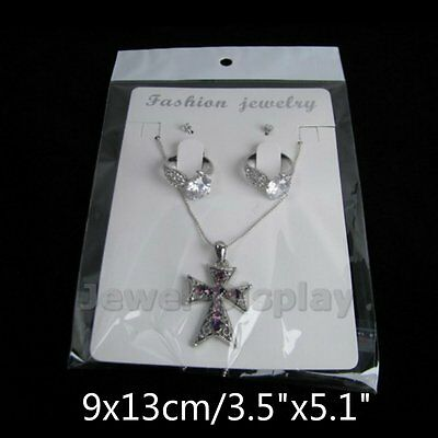 """50 Sets White Jewelry Display Card and Bag Necklace Fashion Retails 3.5""""x5.1"""""""