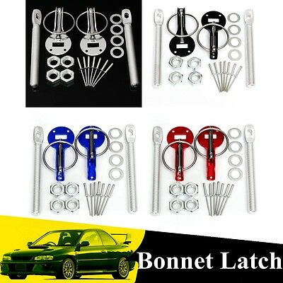 Race Drift Rally Flush Bonnet Hood Mount Latch Catch Pin Key Clamp Locking Kit
