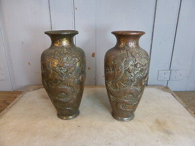 Pair antique Japanese spelter vases dragon decoration