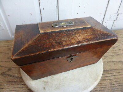 Antique wooden tea caddy with brass plaque on lid