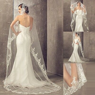 1T White/Ivory Lace Cathedral Bridal Wedding Veil Lace Edge Wedding Accessories