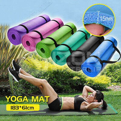 15mm Yoga Mat Pad Thick Nonslip Fitness Pilate Exercise Gym Lose Weight Postage