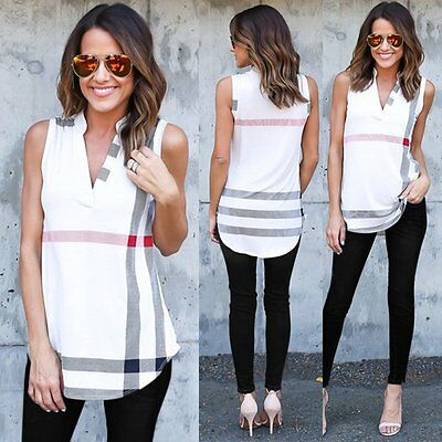 Women Summer Sleeveless Chiffon T-Shirt Casual Striped Vest Blouse Tank Tops Tee