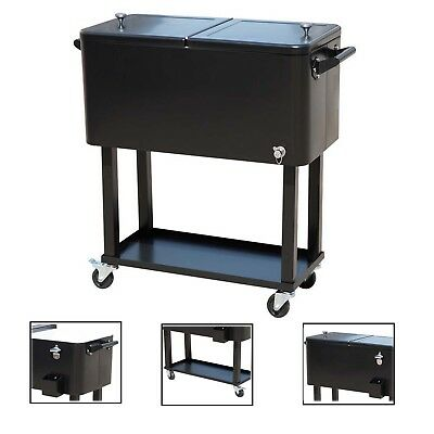 80 Quart Chest Cooler Cart Ice Beer Beverage Outdoor Patio Party Black Portable