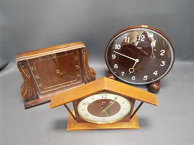 Job lot of 3 vintage wooden mantle clocks for spares or restoration