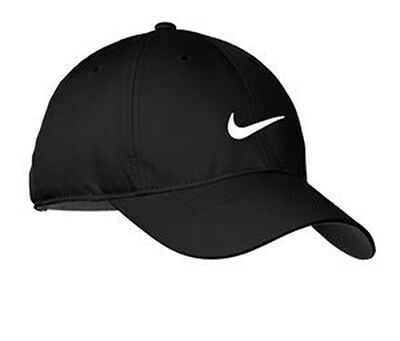 New Nike Hat-Black With White Swoosh-Dri-Fit-Baseball Cap-Adjustable Hats