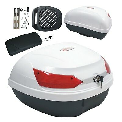 Top Case Box 46 LT Universal backrest Motorcycle Scooter Luggage Quad White