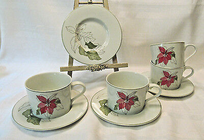 Block Spal Portugal Watercolors POINSETTIA Four (4) Cup & Saucer Sets