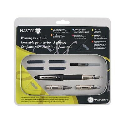 Manuscript Calligraphy Master Writing Set with 3 Nibs, Ink & Italic Pen