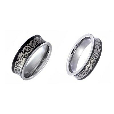 Black Tungsten His & Hers Engagement Wedding Band Ring Sets Concave Dragon Etch