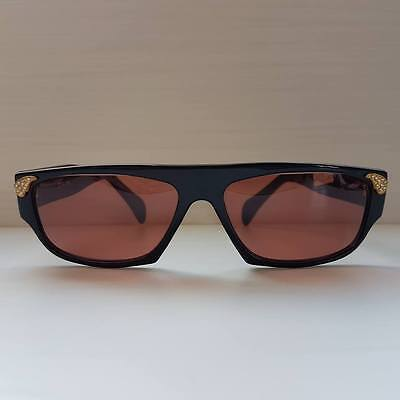 Black Sunglasses Vintage 80s Occhiali da sole Neri Strass Made in Italy