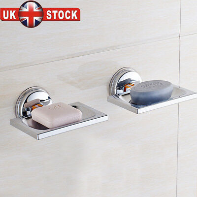 UK Non Rust STRONG Suction Stainless Steel Bathroom Shower Soap Dish Holder Rack