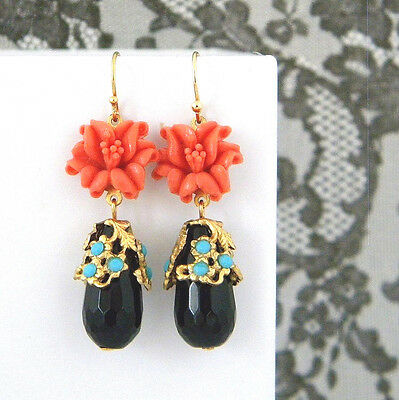 Vintage Coral Lily Turquoise Black Onyx Deco Earrings