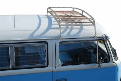 Silver Powder Coated Steel Classic Roof Rack Wooden Slat VW T2 Splits Bay C9068P