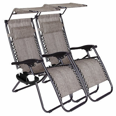 New Zero Gravity Chairs Case Of 2 Lounge Patio Folding Chairs With Canopy/Holder