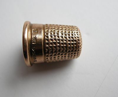 Antique Victorian English Solid 9 Kt Gold Thimble Hallmarked