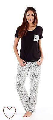 Ladies Girls Pajama Set Pyjamas Pjs Loungewear Patterned Long Sleepwear